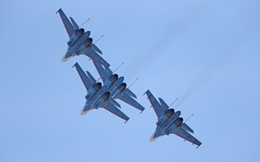Picture The sky, The plane, Su-27, Russian knights, Aerobatic team, Vladislav Perminov, Speech