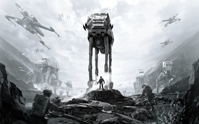 Picture game, Electronic Arts, AT-AT, DICE, Stormtroopers, Rebels, AT-ST, star wars battlefront, Sallast, Ultimate Edition, BLACK …