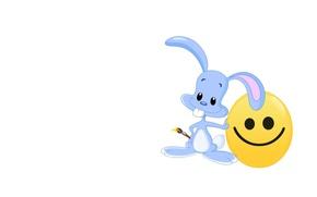 Picture mood, art, Bunny, brush, smiley, children's