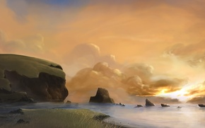 Picture sea, clouds, stones, dawn, lighthouse, art, track, painted landscape