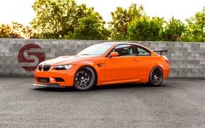 Picture trees, orange, bmw, BMW, the fence, orange, gts