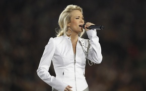 Picture earrings, blonde, microphone, singer, Carrie Underwood, country, sings, Carrie Underwood