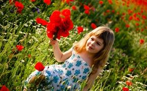 Wallpaper flowers, childhood, children, flowers, children, child, childhood, child, green field, cute little girl, cute little ...
