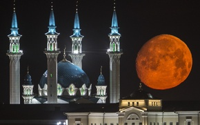 Picture Shine, the building, architecture, red moon, Kazan, Kul-Sharif