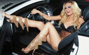 Picture auto, white, smile, Mercedes-Benz, dress, actress, blonde, leopard, beauty, shoes, Mercedes, MP, Maria Kozhevnikova, white, …