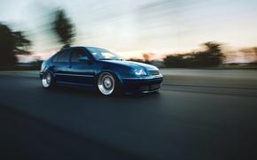 Picture road, blue, tuning, volkswagen, blue, Volkswagen, jetta, MK4, in motion, Jetta