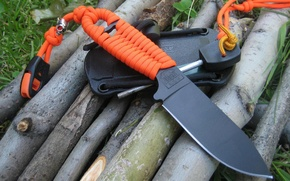 Wallpaper orange, black, knife, cord, blade, sheath