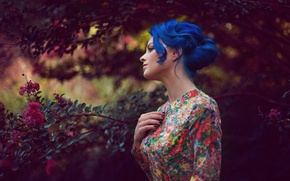 Wallpaper girl, dress, blue hair