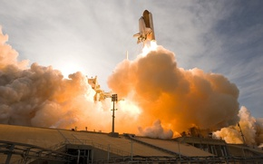 Picture space, NASA, smoke, spaceship, launch, rocket, Space Shuttle, technology, spacecraft, Orbiter, Booster, launch pad