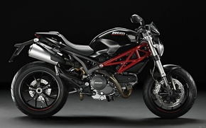 Picture motorcycle, the dark background, ducati monster