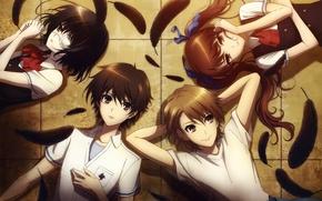 Picture feathers, form, Anime, students, other, Another, Mei Misaki, Kouichi Sakakibara, Naoya Teshigawara, Izumi Akazawa