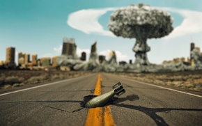 Picture road, the explosion, the city, cracked, war, mushroom, world, hole, destruction, pit, love, peace, nuclear, …
