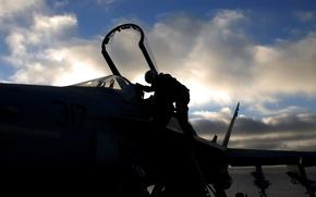 Wallpaper cabin, fighter, silhouettes, pilot