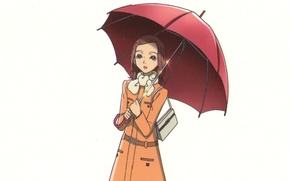 Picture white background, bag, cloak, red umbrella, Nan, nana, hachi, nana komatsu, by ai yazawa
