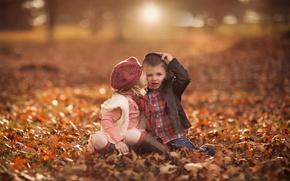 Picture autumn, leaves, boy, girl, bokeh