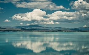 Picture clouds, mountains, lake, reflection