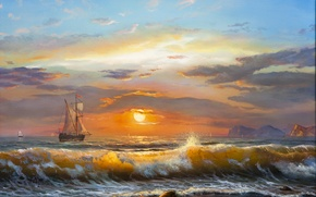 Picture sea, wave, the sky, clouds, landscape, sunset, sailboat, waves, sky, sea, landscape, sunset, clouds, sunlight, ...