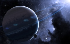 Picture space, planet, ring, space, nebula, planet