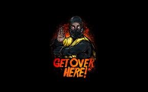 Wallpaper yellow, fighter, ninja, art, Mortal Kombat, Scorpion