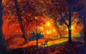 Picture landscape, paint, picture, painting, landscape, autumn, painting, oil, watercolor