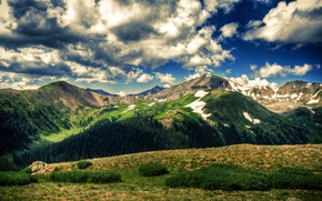 Picture field, the sky, clouds, trees, landscape, mountains, nature