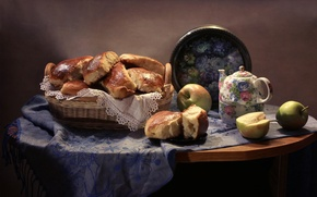 Picture apples, kettle, still life, shawl, tray, cakes
