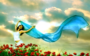 Wallpaper girl, joy, veil, field, summer