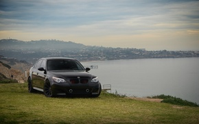 Picture front view, slope, sedan, e60, bmw, BMW, sea, black, black, tuning, the sky, clouds