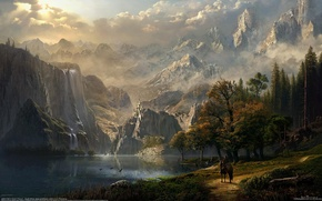 Wallpaper forest, girl, mountains, lake, castle, horse, elf, waterfall, rider, fantasy, art, fantasy, CG wallpapers, Idyll's ...