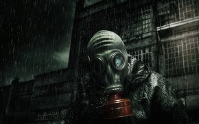 Picture background, people, gas mask