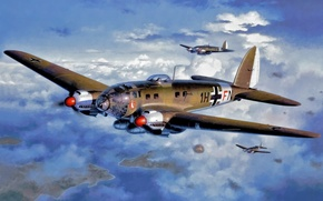 Picture bomber, art, airplane, painting, aviation, Heinkel He 111, ww2.war