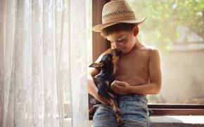 Wallpaper dog, friends, boy