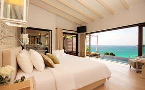 Wallpaper style, flowers, room, sea, bedroom, roses