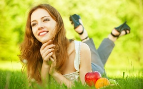 Picture look, girl, nature, smile, fruit, weed, basket
