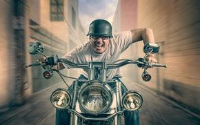 Picture speed, motorcyclist, helmet