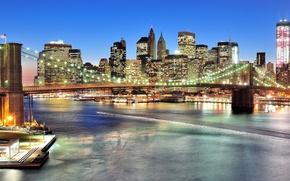 Picture New York, panorama, Brooklyn bridge, night city, Manhattan, New York City, Brooklyn Bridge, East River, …