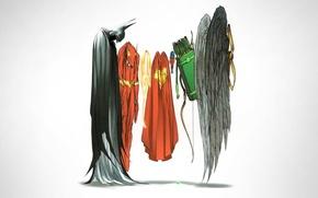 Picture Wonder Woman, Batman, minimalism, wings, Superman, superheroes, arrows, comic, Green Arrow, DC Comics, Flash, Justice …