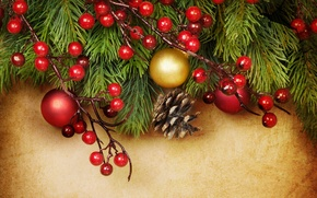 Picture decoration, berries, balls, Christmas, decoration, xmas, Merry, Christmas. New Year
