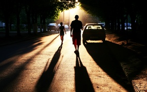Picture road, the city, photo, people, street, shadows, cars, Photo, town, perfect setting