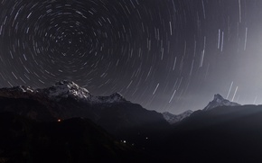 Picture stars, night, excerpt, Annapurna, the Himalayas, Nepal