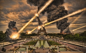 Picture the city, people, fire, Paris, explosions, the bombing, apocalipsis