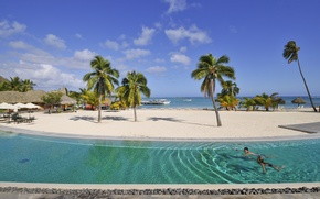 Picture beach, palm trees, stay, pool, relax, exotic