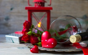 Picture flowers, holiday, wine, heart, glass, bottle, roses, lantern, tray, dish, prezent