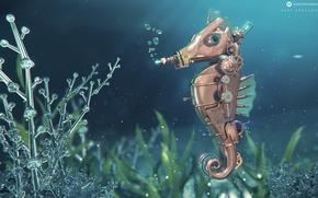 Picture metal, desktopography, seahorse, imitation