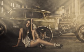 Picture Girl, Hot Rod, Smoke, Wheels, Engine, Shirt, Sitting, Shorts, Views