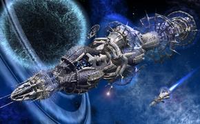 Wallpaper flight, the portal, planet, space, starships