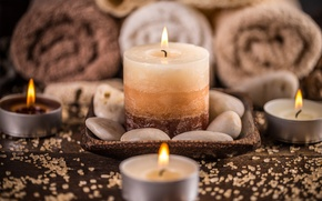 Picture candles, bokeh, candles, spa
