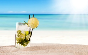 Wallpaper paradise, vacation, Mojito, mint, drink, mojito, cocktail, lime, sea, cocktail, beach, summer, tropical, fresh
