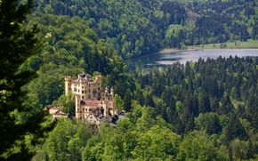 Wallpaper Germany, Bavaria, Germany, castle, Schwansee Lake, lake Schwansee, lake, Castle Hohenschwangau, Hohenschwangau Castle, Bayern, forest