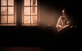 Picture sadness, girl, loneliness, room, lighting